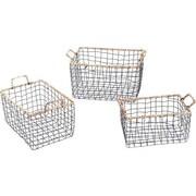 AdecoTrading 3 Piece Multi-Purpose Rectangular Iron Wired Basket Set