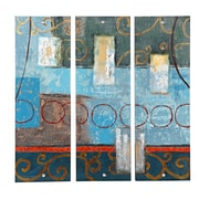 Majestic Mirror Colorful Rectangular Contemporary Mixed Media Lacquer 3 Piece Painting Print Set
