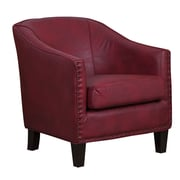 GraftonHome Grace Red Bonded Leather Barrel Chair