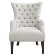 Madison Park Hannah Button Tufted Wing Back Arm Chair; Ivory