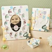 FashionCraft 3 Piece Adorable Giraffe and Elephant Baby Gift Picture Frame Set