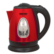 Better Chef 1.9-qt Stainless Cordless Electric Kettle; Black / Red