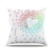 KESS InHouse Rainbow Hearts Throw Pillow; 18'' H x 18'' W
