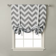 Best Home Fashion, Inc. Chevron Print Room Darkening Tie-Up Shade; Grey