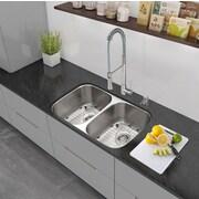 Vigo 32'' x 18.5'' Undermount 50/50 Double Bowl 18 Gauge Stainless Steel Kitchen Sink with Faucet