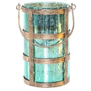 River of Goods Caged Mercury Glass Decorative Jar; Shiny Teal