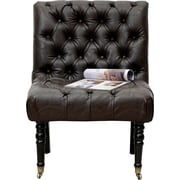 Iconic Home Hendrix Front Castered Leg Button Tufted Side Chair; Dark Brown