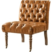 Iconic Home Hendrix Front Castered Leg Button Tufted Side Chair; Camel
