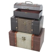 Quickway Imports 3 Piece Decorative Storage Crocodile Leather Trunk Set