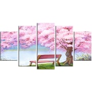 DesignArt Bench Under Flowering Peach Tree Floral 5 Piece Painting Print on Wrapped Canvas Set