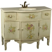 AA Importing 44'' Single Painted Floral Style Bathroom Vanity Set