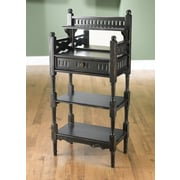 AA Importing 2 Shelf Stand w/ Drawer and Mirror; Black