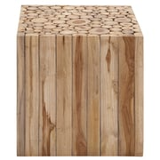 Cole & Grey Teak Wood Square Accent Stool