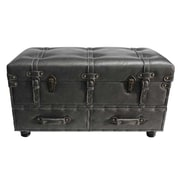 River of Goods Faux Leather Trunk; Gray