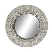 Cole & Grey Wood Shell Inlay Round Mirror; 40'' H x 40'' W x 1'' D