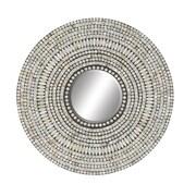 Cole & Grey Wood Shell Inlay Round Mirror; 24'' H x 24'' W x 1'' D