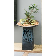 Evergreen Enterprises, Inc Intricate LED Hand Glazed Ceramic Birdbath