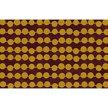 Manual Woodworkers & Weavers Line Dots Gold Rug; 3'1'' x 1'10.5''