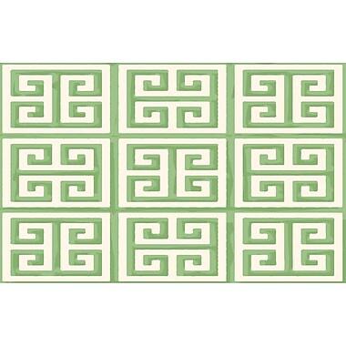 Manual Woodworkers & Weavers Greek Key II Mint Geometric Area Rug; 3'1'' x 1'10.5''