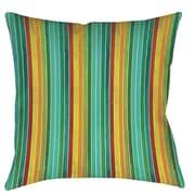 Manual Woodworkers & Weavers Aqua Bloom Stripes Printed Throw Pillow; 18'' H x 18'' W x 5'' D