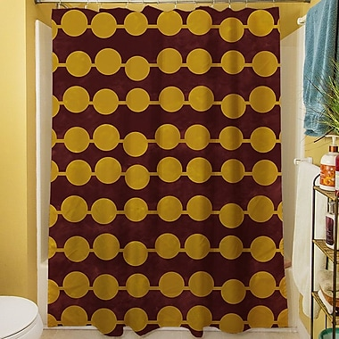 Manual Woodworkers & Weavers Line Dots Shower Curtain; Gold