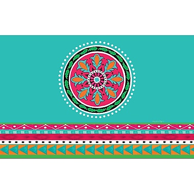 Manual Woodworkers & Weavers Boho Medallion Square Turquoise Area Rug; 3'1'' x 1'10.5''