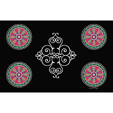 Manual Woodworkers & Weavers Boho Medallion Square Black Area Rug; 3'1'' H x 1'10.5'' W