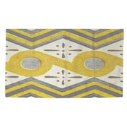 Manual Woodworkers & Weavers Citron and Slate 2 Yellow/White Area Rug; 4' x 6'