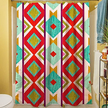 Manual Woodworkers & Weavers Ikat Shower Curtain; Mint