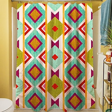 Manual Woodworkers & Weavers Ikat Shower Curtain; White