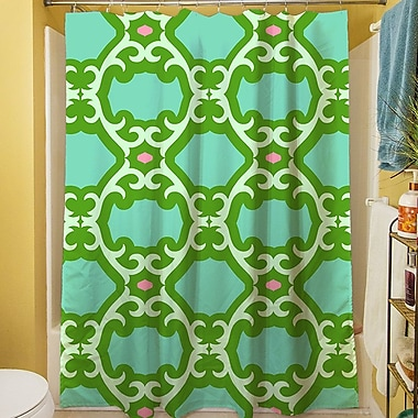 Manual Woodworkers & Weavers Francie Trellis Shower Curtain; Green