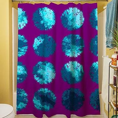 Manual Woodworkers & Weavers Fuzzy Dots Shower Curtain; Bright