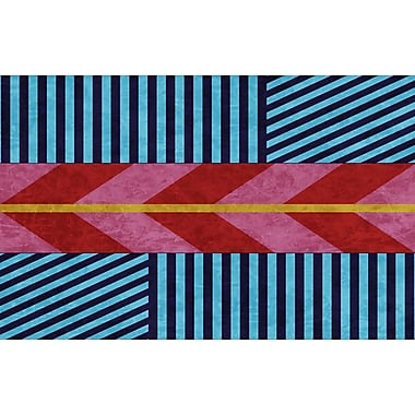 Manual Woodworkers & Weavers Aztec Blue/Pink Chevron Area Rug; 5'10'' x 4'4''