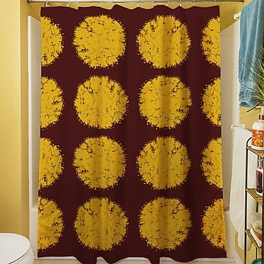 Manual Woodworkers & Weavers Fuzzy Dots Shower Curtain; Gold