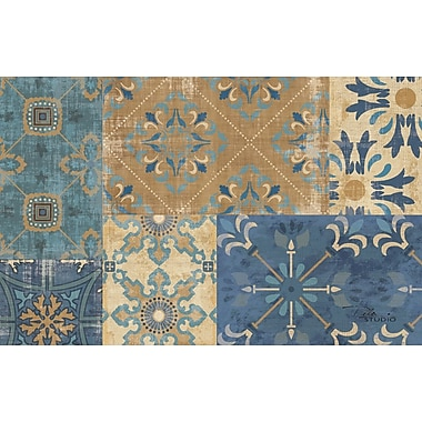 Manual Woodworkers & Weavers Moroccan Patchwork Blue Rug; 5'10'' x 4'4''