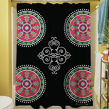 Manual Woodworkers & Weavers Boho Medallion Square Shower Curtain; Black