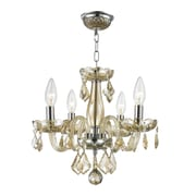 Worldwide Lighting Clarion 4-Light Crystal Chandelier; Golden Teak