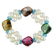 """Allegro 8-9MM White Freshwater Cultured Pearl & 14-17MM MultiColour Baroque Pearl Stretch Bracelet w/Turquoise Crystal Beads, 7"""""""