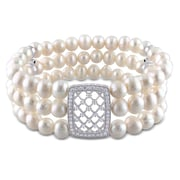 """Allegro Freshwater Cultured Pearl 3-Strand Stretch Bracelet w/Sterling Silver Cubic Zirconia Lattice Center & Dividers 7"""""""