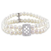 """Allegro Freshwater Cultured Pearl 2-Strand Stretch Bracelet w/Sterling Silver Cubic Zirconia Filigree Center & Dividers, 7"""""""