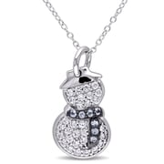 Allegro STP000395, Created White Sapphire & Blue Topaz Snowman Pendant w/Chain in Sterling Silver w/Black Rhodium, 18'