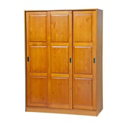 PalaceImports Three-Sliding Door Armoire; Honey Pine