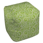 Manual Woodworkers & Weavers Funky Florals Swirl Pattern Ottoman; Green