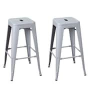 AdecoTrading 30'' Bar Stool (Set of 2); Silver Gray