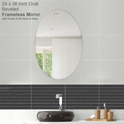 Fab Glass and Mirror Oval Beveled Polish Frameless Wall Mirror with Hooks