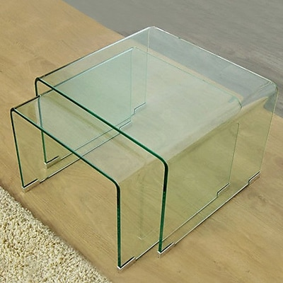 Fab Glass and Mirror 2 Piece Clear Bent Glass Nesting Tables WYF078279311792