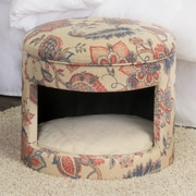 HomePop Casual Decorative Hideaway Ottoman Cat Bed