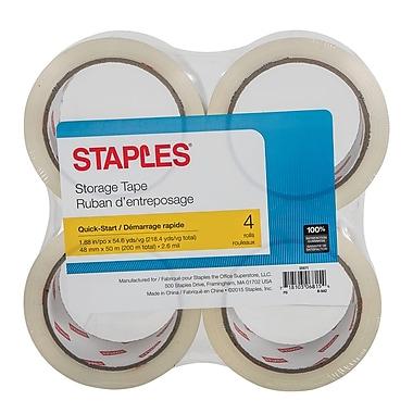 Staples® – Ruban d'emballage à déroulement rapide, 48 mm x 50 m, 2,6 mil, paq./4