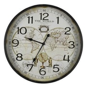 Cooper Classics  World Map Metal Wall Decor Clock With Under Glass Face (COOP889)