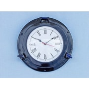 Handcrafted Model Ships  Brass Deluxe Class Porthole Clock 12 in. - Dark Blue Decorative Accent (HDFM095)